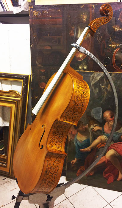 Violoncello con decorazione Michele Dobner Violin Maker