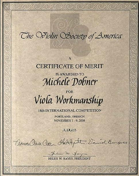 Riconoscimento The Violin Society of American Michele Dobner Liutaio a Cremona in Lombardia